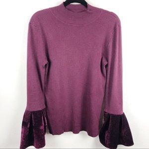 INC bell Sleeve velvet purple mock turtleneck